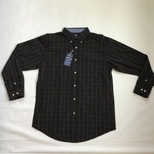 Haggar Black Plaid Stretch Button Down No Iron M